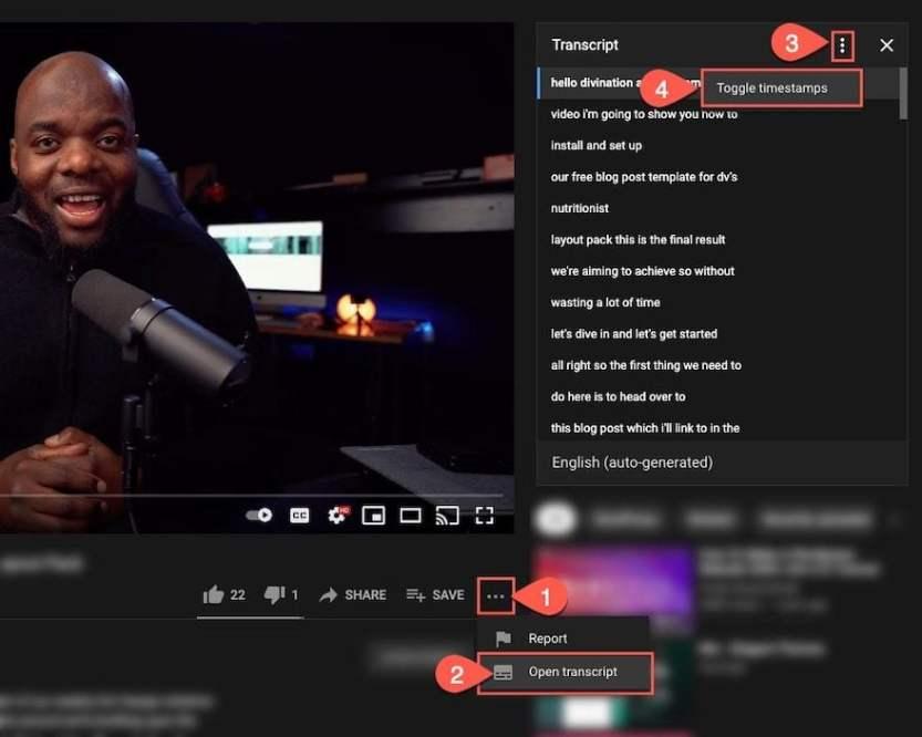 divi video transcript toggle