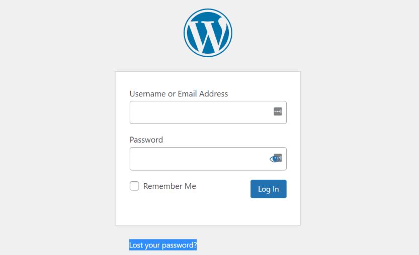 Recovering a lost WordPress password to fix WordPress login issues.