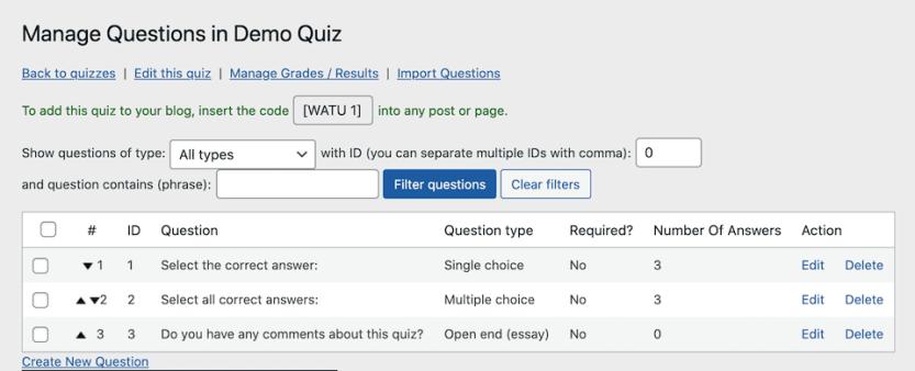 The Watu Quiz question editor.