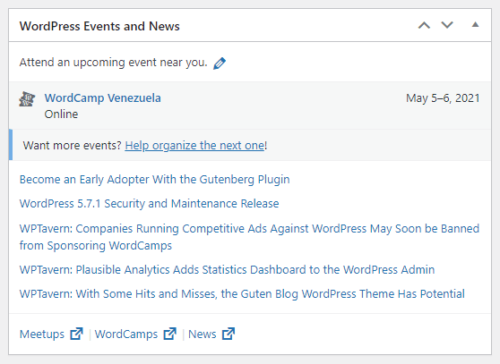 wordpress events and news