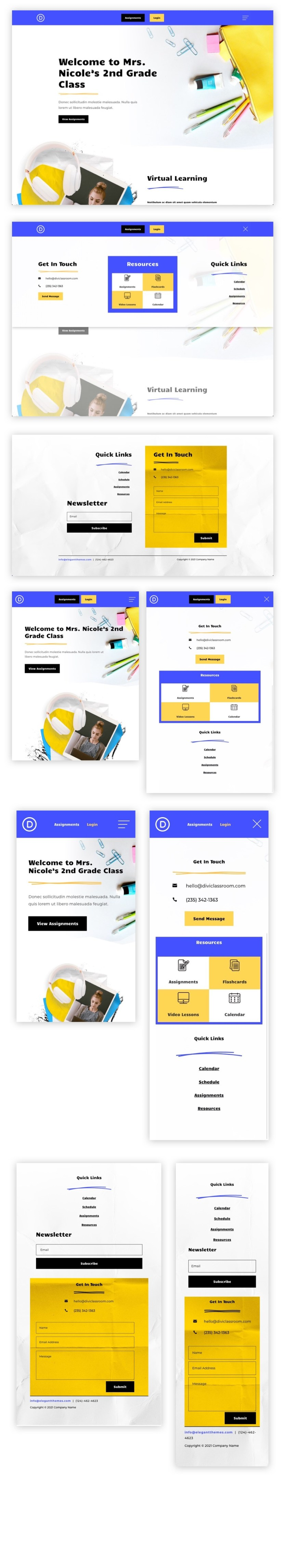 header and footer template for divi's classroom layout pack