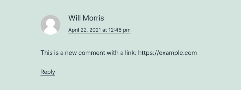 A comment with hyperlinking disabled.