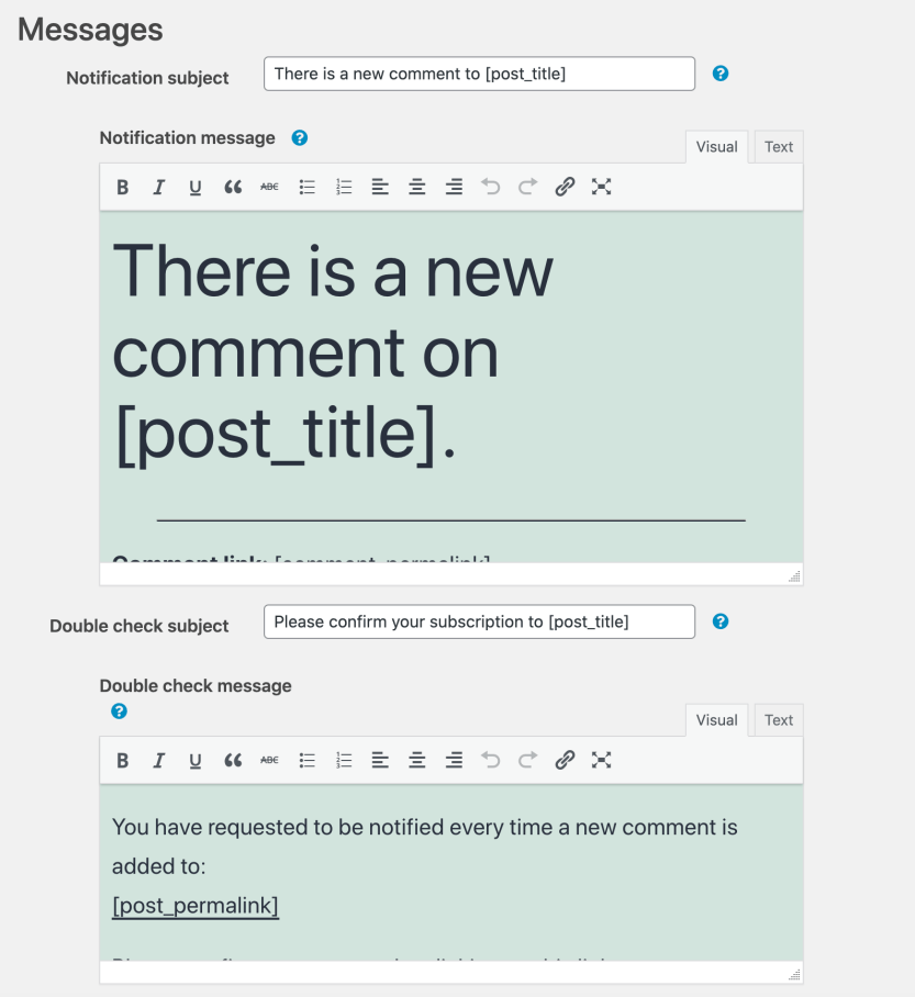 Customizing the comment subscription emails.