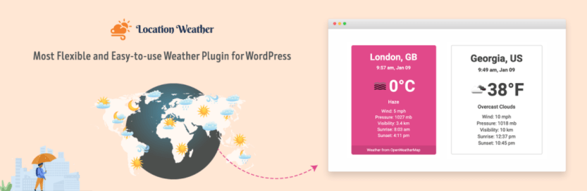 The Location Weather WordPress weather widget.