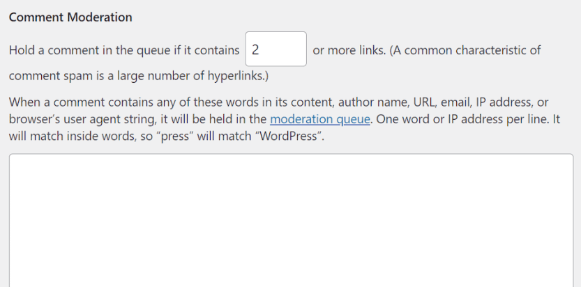 The WordPress comment moderation settings.