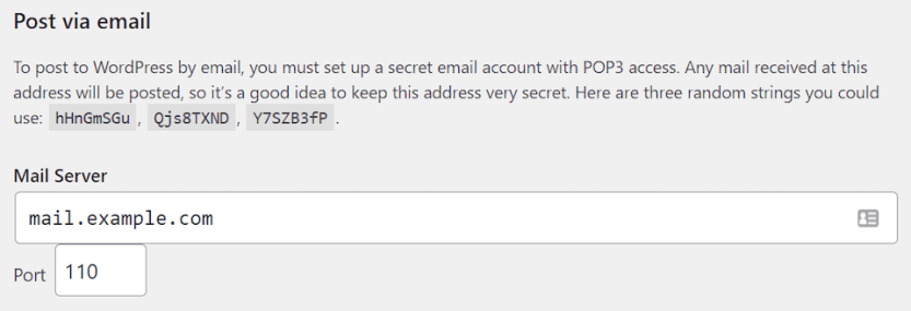 The post via email setting in WordPress.