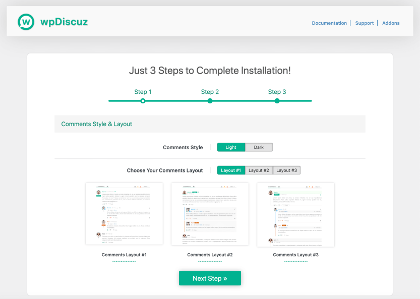 The wpDiscuz comment form layout options.