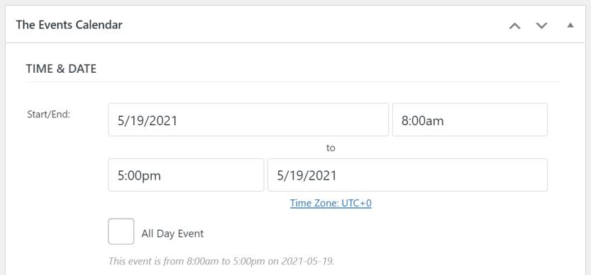 Adding a new event using The Events Calendar plugin