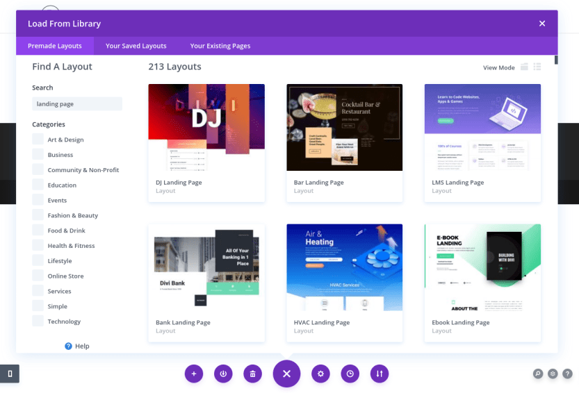 The selection of Divi Builder premade layouts for landing pages.