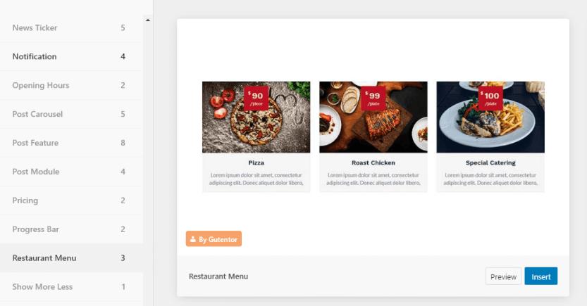 A restaurant menu block template