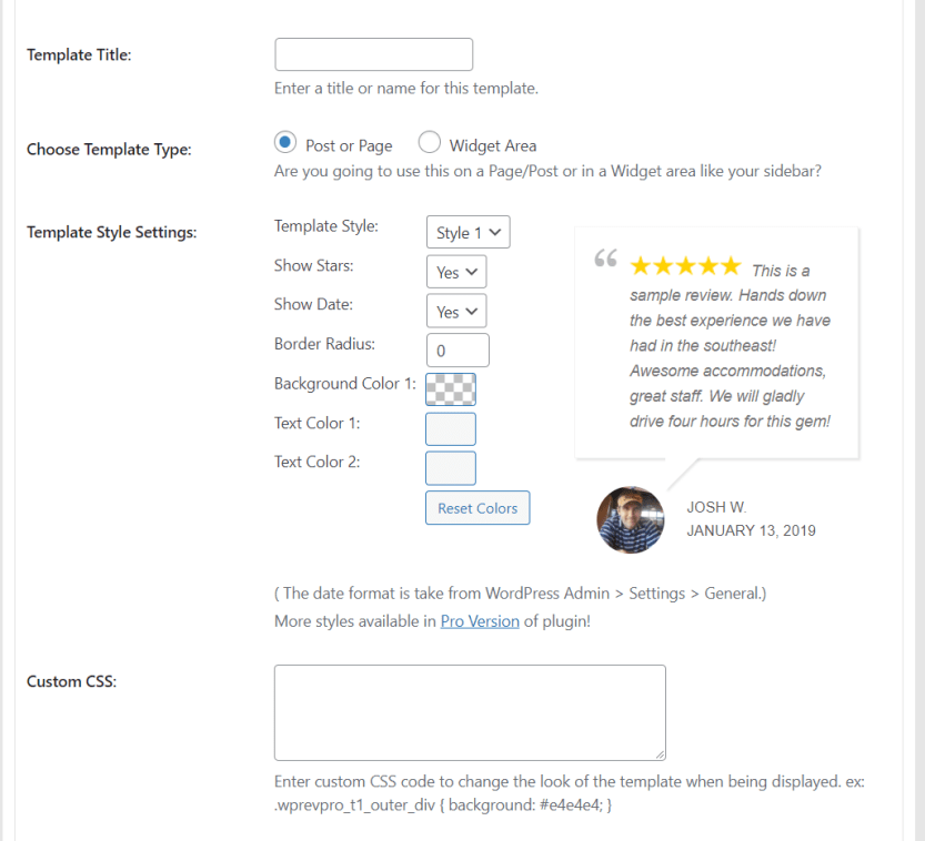 Modifying your WP Review Slider template