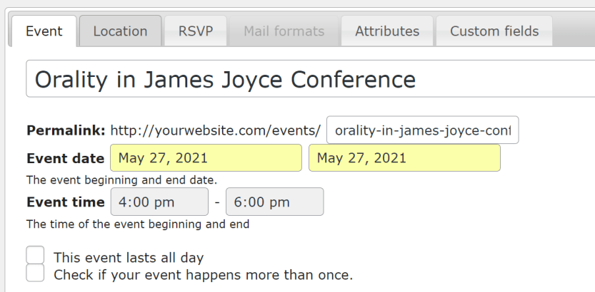 Adding a new event using Events Made Easy