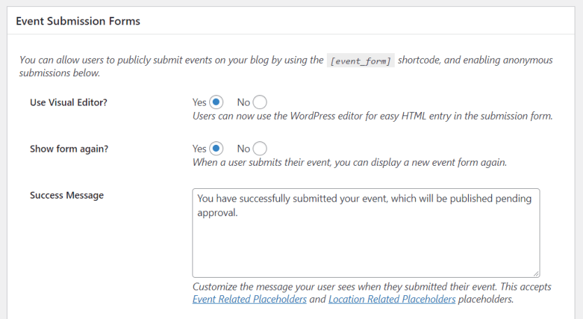 Enabling users to submit events to your calendar