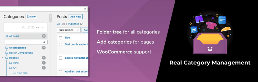 The WordPress Real Category Management: Content Management in Category Folders plugin.