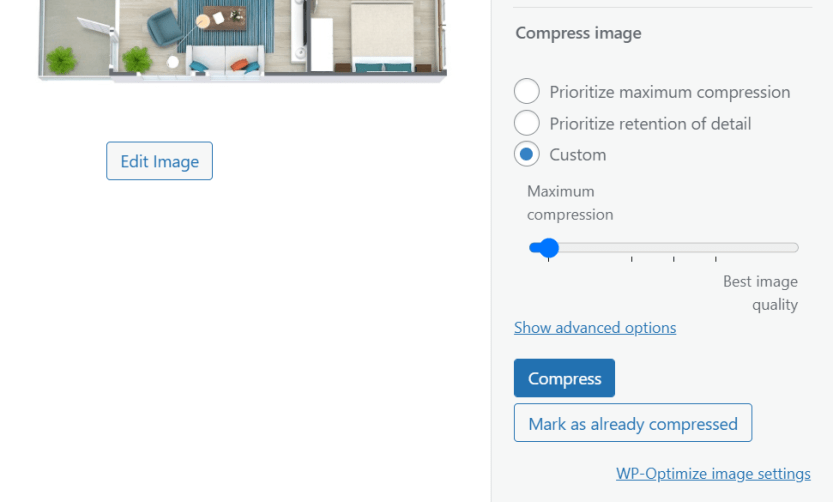 Compressing an image using WP-Optimize