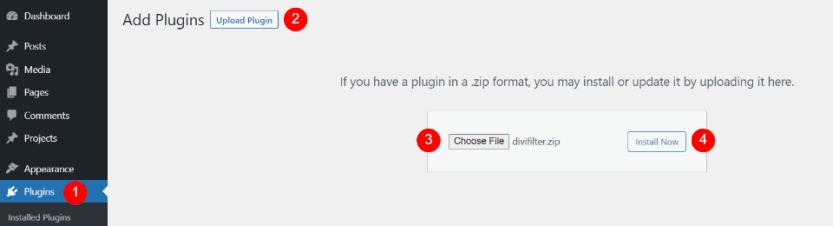 Installing Divi Filter