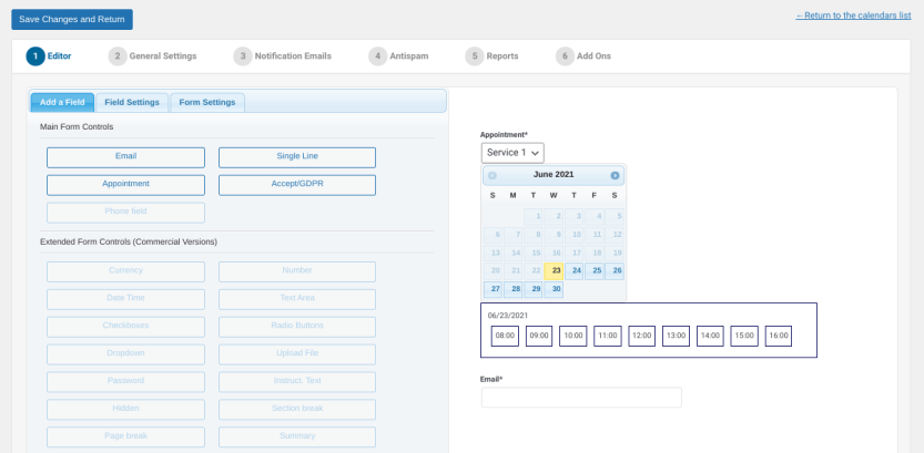 The interface of the Appointment Hour Booking plugin.