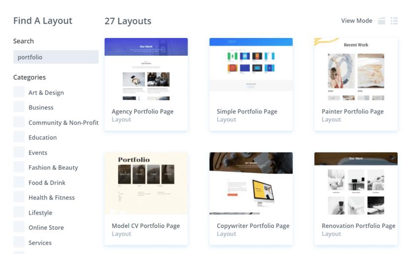 Several examples of Divi portfolio templates