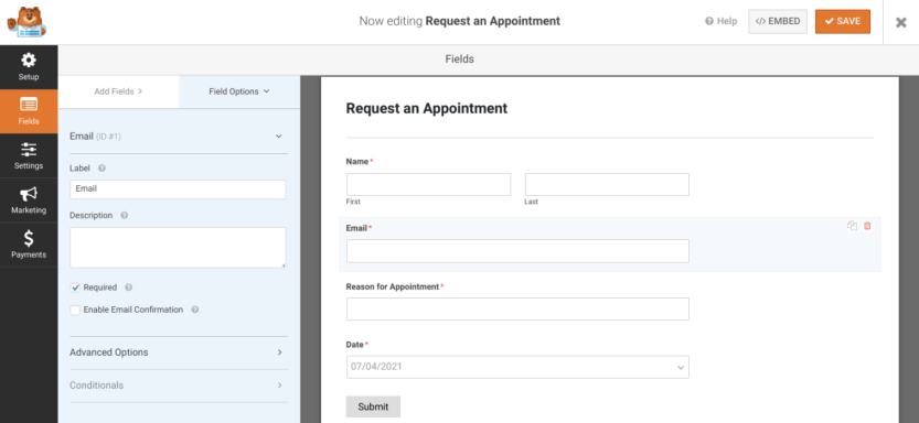 The WPForms form builder interface.