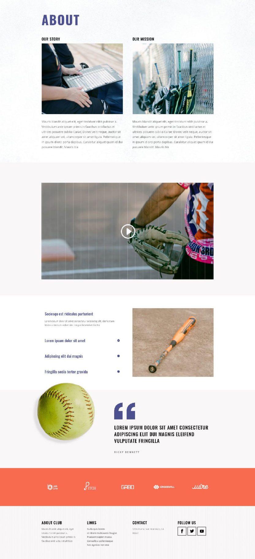 divi softball league layout pack