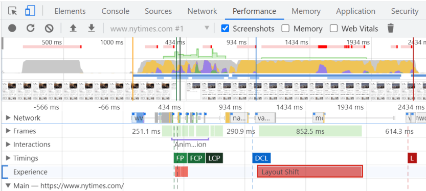 Isolating layout shift events in Chrome