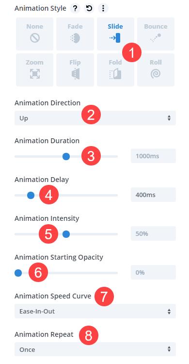 animation options