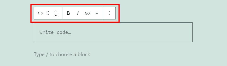 Code Block Toolbar