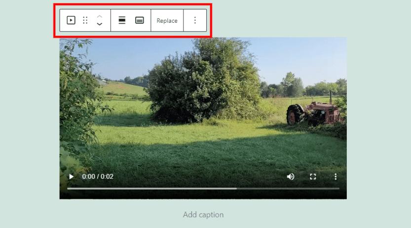 Video Block Toolbar