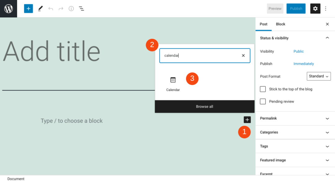 The WordPress Calendar block.