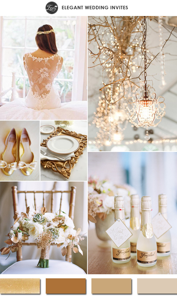 vintage gold and champagne neutral colors wedding ideas for 2015 trends