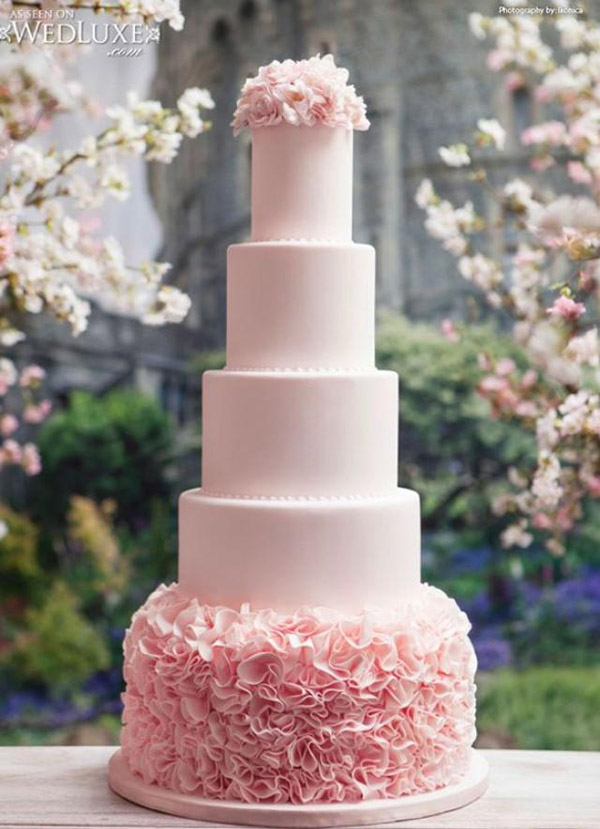28 Inspirational Pink Wedding Cake Ideas     Elegantweddinginvites com     light pink and white wedding cakes