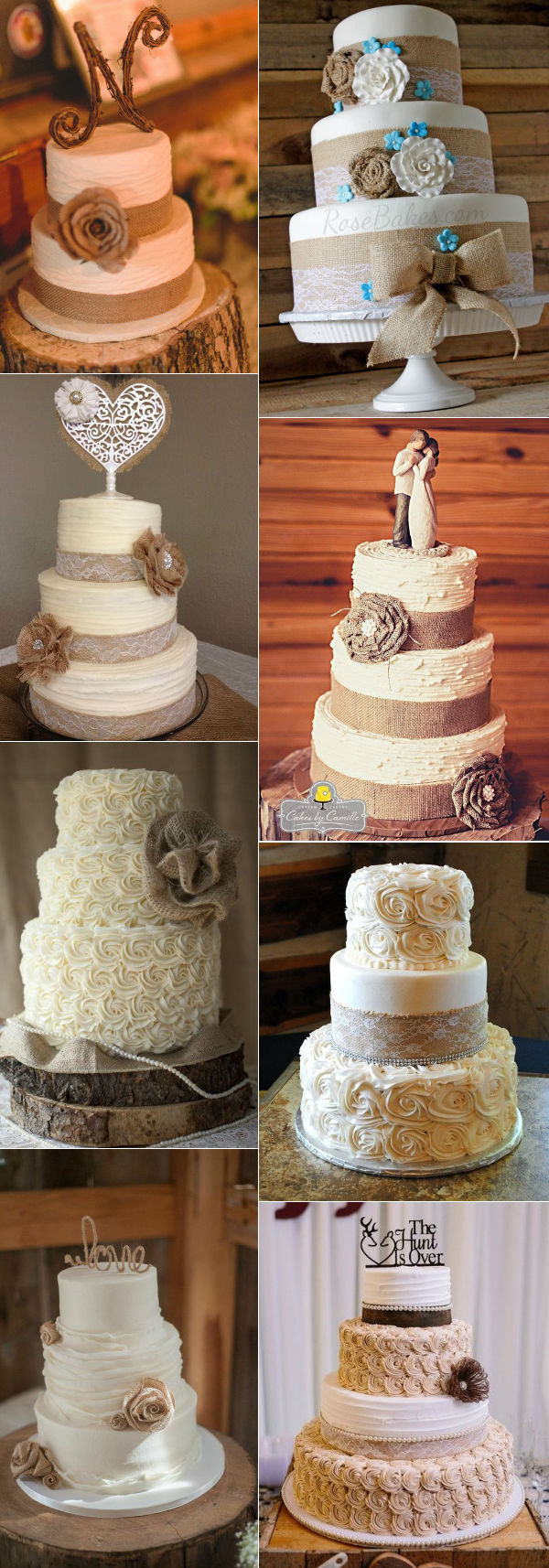 32 Amazing Wedding Cakes Perfect For Fall     Elegantweddinginvites     country rustic burlap and lace wedding cakes for fall