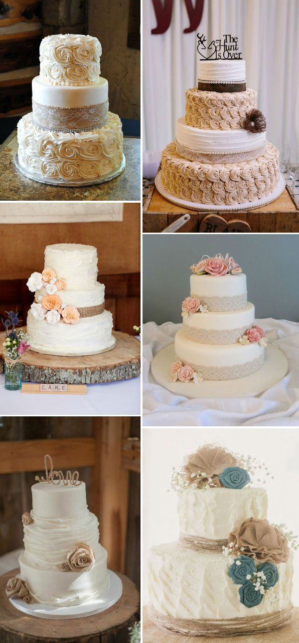 30  Rustic Burlap And Lace Wedding Ideas     Elegantweddinginvites com     rustic inspired burlap and lace wedding cakes