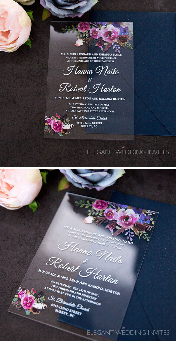 clear for florals acrylic wedding