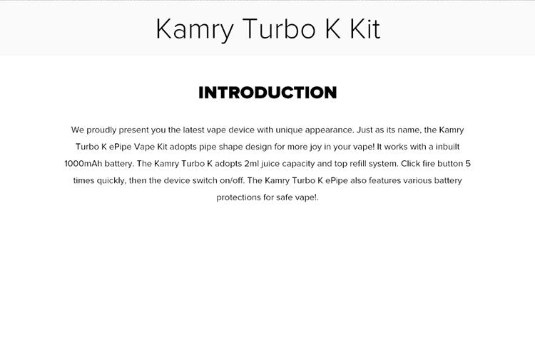 Kamry Turbo K Pipe Vape Kit 1000mAh