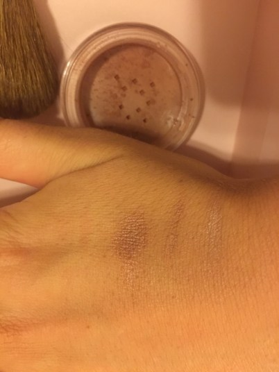 bareminerals medium tan (left) / Tan (middle) / warmth (right) swatch