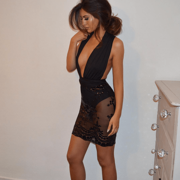 black plunge sequin dress eleise online blogger