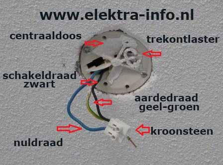 Zeer Uitleg lamp aansluiten aan plafond of muur | Elektra-info.nl OD39