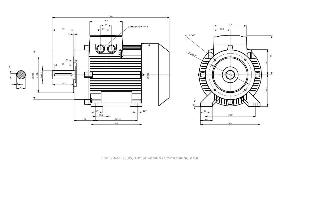 Elektromotor Siemens 1la 6aa 7 5kw 960ot