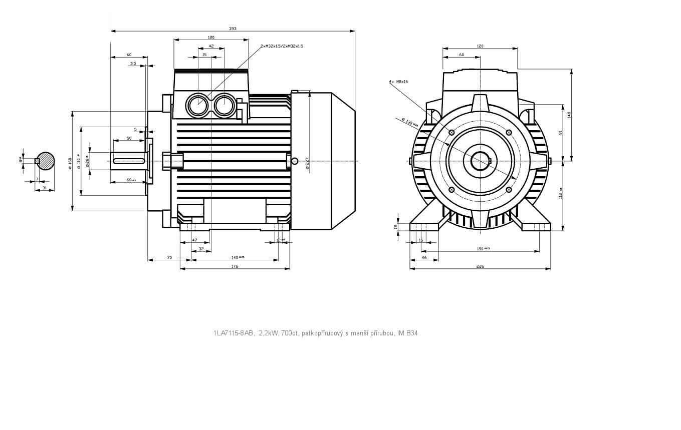Elektromotor Siemens 1la 8ab 2 2kw 700ot