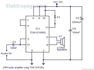 24 Watt Audio Amplifier With TDA1516BQ pinout and connection diagram  Schematic Circuits