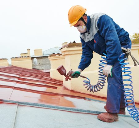 Livermore roofer paints a newly installed roof