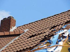 roof damage from fallen tree branch in Pleasanton, CA.