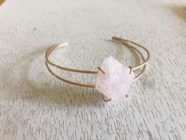 c2370fa6f87fcb Rose Quartz Raw Mineral Bracelet • Element + Mineral