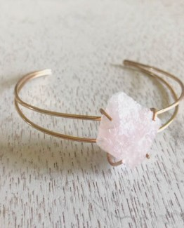 raw gemstone rose quartz cuff