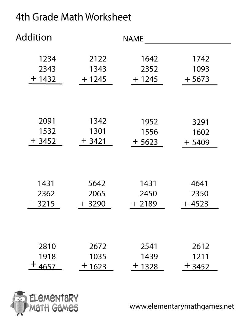 Free Printable Addition Worksheet For Fourth Grade