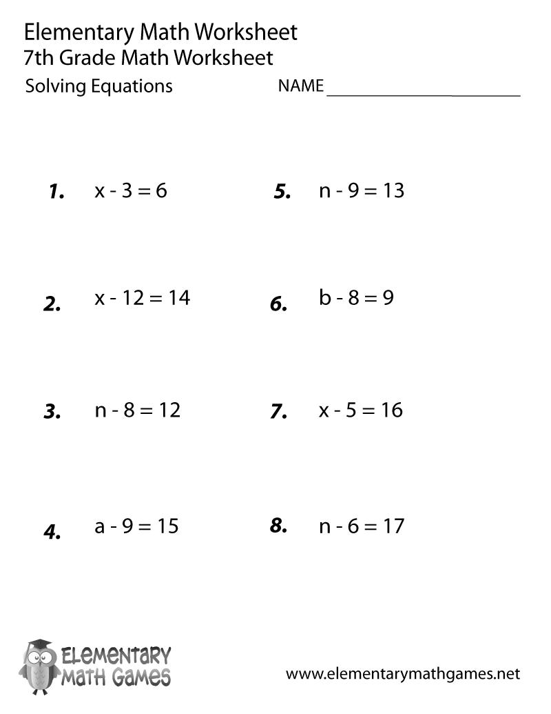 Seventh Grade Solving Equations Worksheet