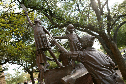 Shaping the Future statue on Texas A&M University campus