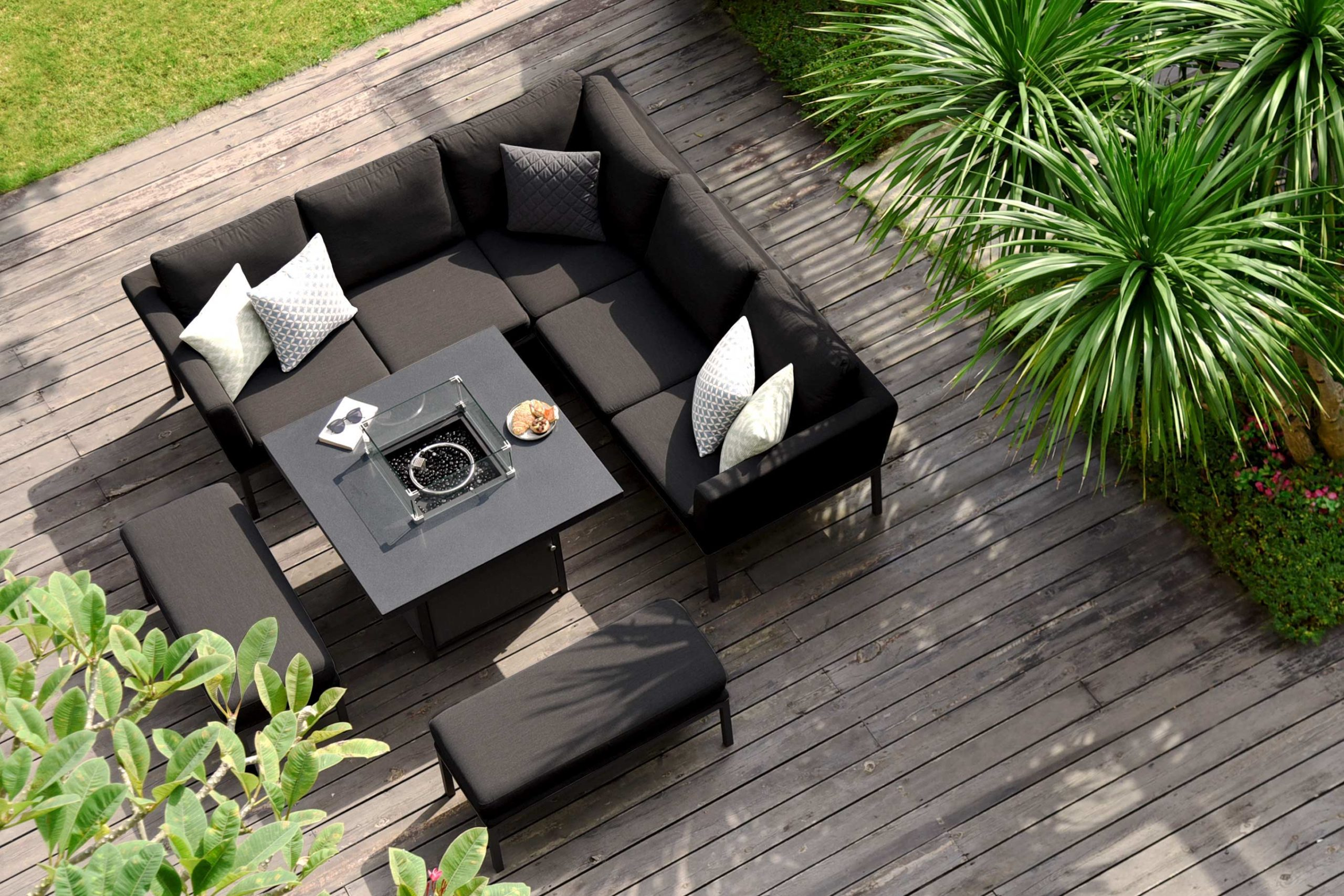 pulse square corner dining set with firepit table charcoal