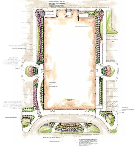 Existing office building landscape redesign in plan view.